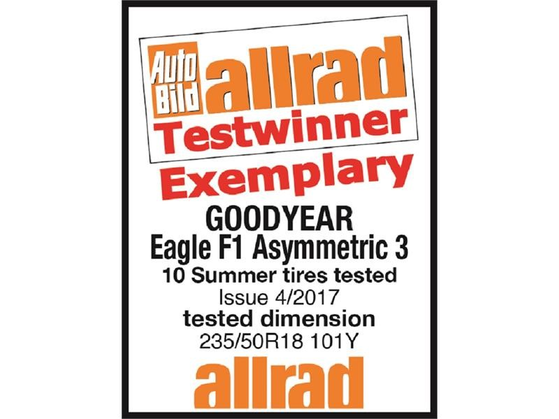 Goodyear's Eagle F1 Asymmetric 3 overall test winner of the Auto Bild allrad Summer tire test