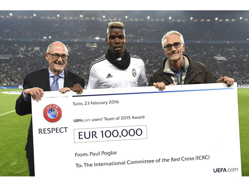 Paul Pogba Hands UEFA Cheque to Red Cross