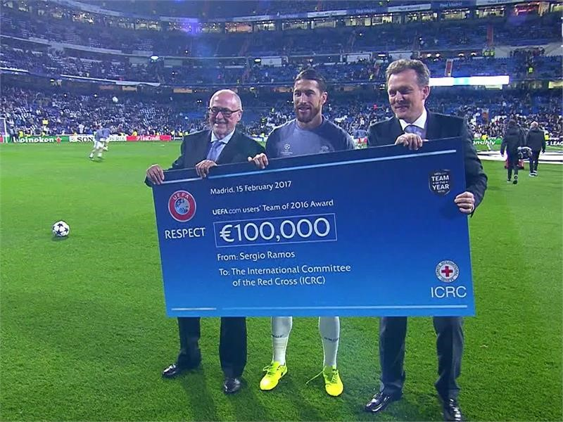 New video available - UEFA and Sergio Ramos hand over €100,000 cheque to the International Committee of the Red Cross (ICRC)