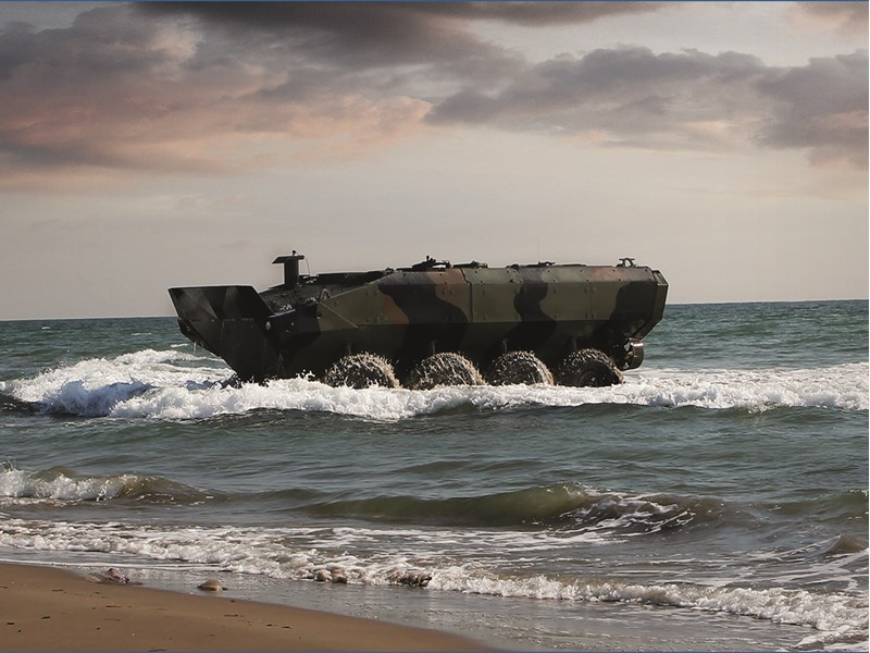 First Amphibious Combat Vehicle (ACV) 1.1 based on Iveco Defence Vehicles's platform rolled out to the U.S. Marine Corps.