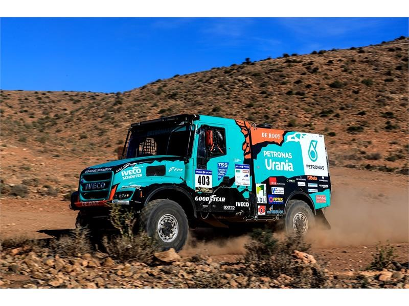 Team PETRONAS De Rooy IVECO on the podium in the first stage of the Africa Eco Race 2018