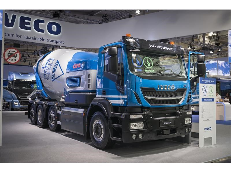 IVECO and CIFA present the world's first bioCNG truck with electric hybrid concrete mixer