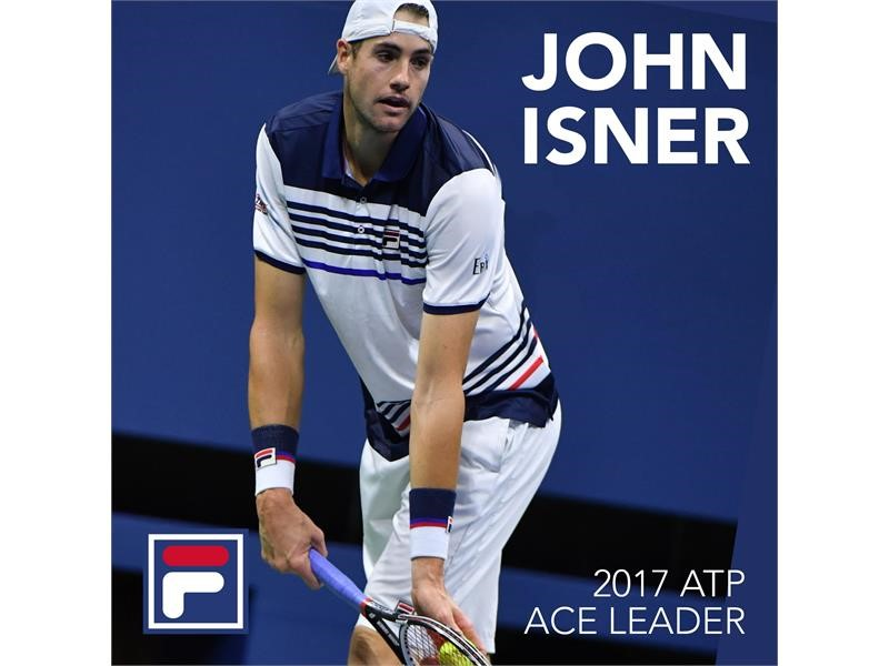 FILA Sponsored Tennis Star John Isner is the 2017 ATP World Tour Ace Leader