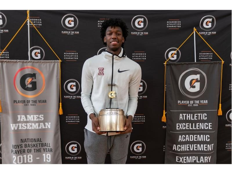 JAMES WISEMAN NAMED 2018-19 GATORADE® NATIONAL BOYS BASKETBALL PLAYER OF THE YEAR
