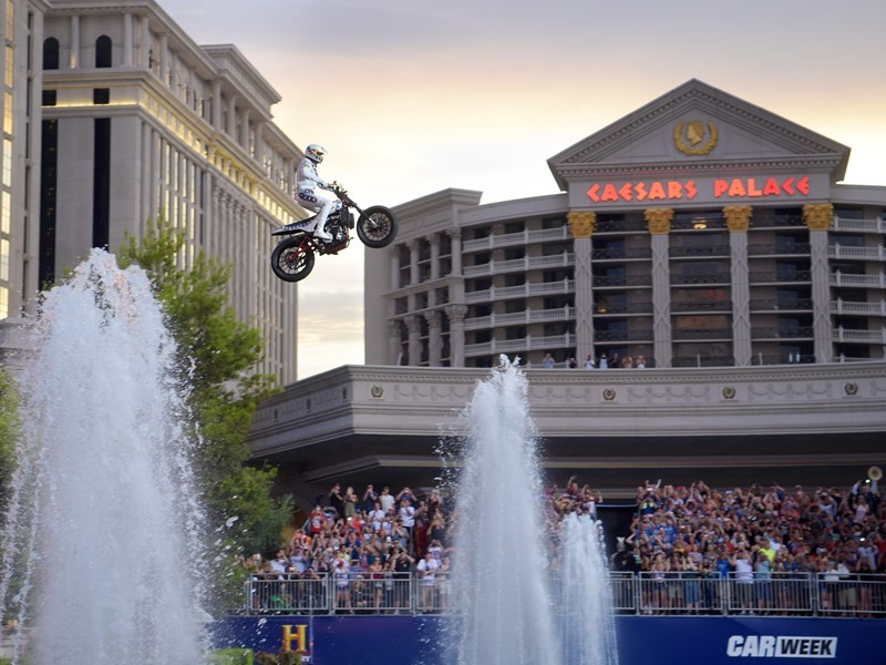 Travis Pastrana recreates three iconic Evel Knievel jumps in Las Vegas