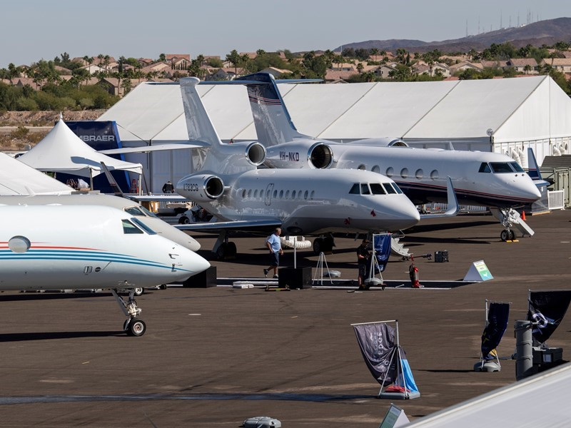 NBAA, Civic Leaders Welcome Convention's Sustainably Fueled Aircraft Display in Las Vegas