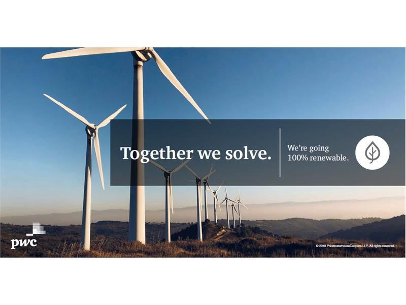 New global environmental commitment from PwC backed by joining RE100 initiative for renewable electricity