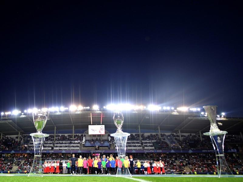 Blind children take centre stage in Tallinn for UEFA Super Cup